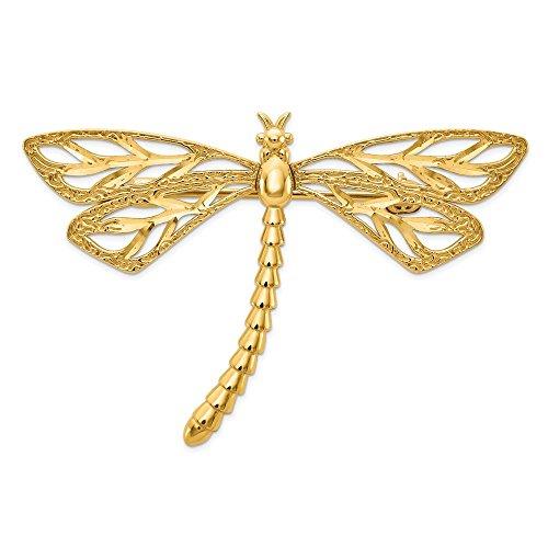 Pin de libélula Pulido y Satinado de Oro Amarillo de 14 Quilates con Corte Diamante