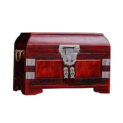 QVQV Chino Retro de la Mano de la Caja Organizador de joyería Joyero de sándalo Rojo de Hoja pequeña, Caja de Maquillaje de Caoba clásica, Caja de colección de Jade de Alta Gama