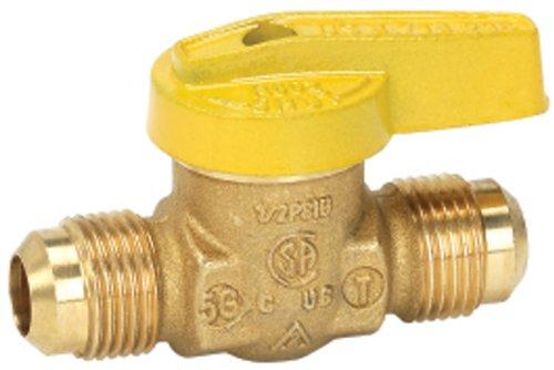 Homewerks VGV1LHT2B Premium Gas Ball Valve Flare Inlet/Outlet, Brass, 3/8-Inch