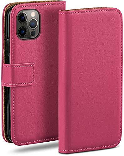 moex Klapphülle kompatibel mit iPhone 12/12 Pro Hülle klappbar, Handyhülle mit Kartenfach, 360 Grad Flip Hülle, Vegan Leder Handytasche, Pink