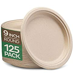 """9"""" paper plates: serve full meals in convenient style compostable food plates. Perfect to serve a main dish with sides. The biodegradable plates Makes a great choice for your daily meals or restaurants, food trucks, to-go orders, special events, and ..."""