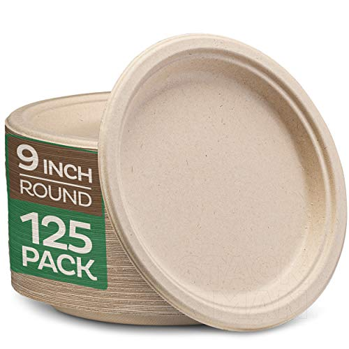 """100% Compostable 9 Inch Paper Plates [125-Pack] Heavy-Duty Plate, Natural Disposable Bagasse Plate, Eco-Friendly Made of Sugarcane Fibers - Natural Unbleached Brown 9"""" Biodegradable Plate by Stack Man"""