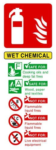Wet Chemical Fire Extinguisher Sign Stickers Lable Decal Warning Sign Vinyl Self Adhesive 300X100Mm