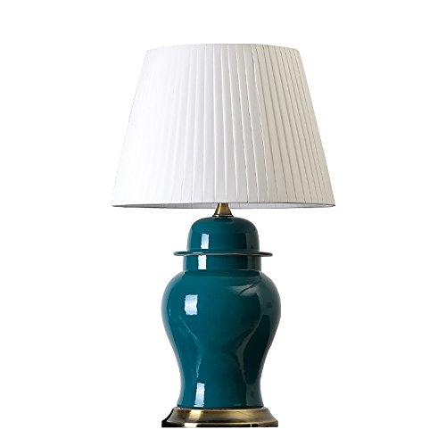 Jack Mall Kreative Keramische Schreibtischlampe Amerikanischer Minimalistischer Retro-Malachit-Nachttischlampe E27 Im Europäischen Stil Für Wohnzimmerstudie (Farbe : Weiß)