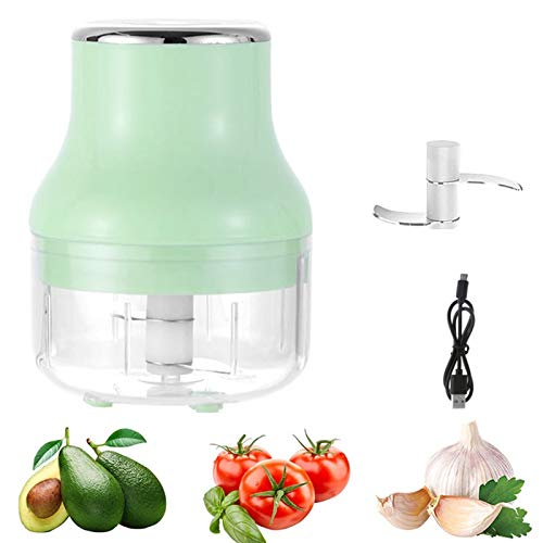 WJY Electric Garlic Masher, 100ml Portable Wireless Food Processor, Mini Meat Grinder, Food Supplement Cooking Machine USB Charging Portable Kitchen Food Processor (Color : Green)