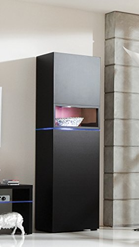 CS SCHMAL Möbel Hohe Dichte Spanplatte Media Centre Speicher Lösungen, 122x 63x 8cm, schwarz