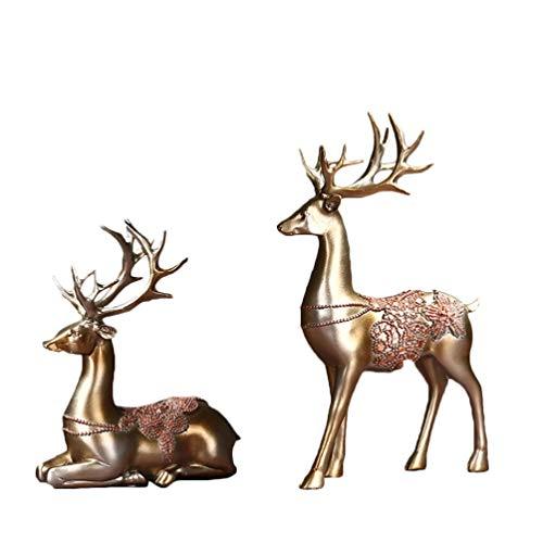 HEALLILY 2pcs Collectible Christmas Reindeer Resin Sculpture Statue Deer Figurine Statue Home Office Decor Statues Deer Decoration