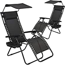 BestMassage Patio Chairs Lounge Chair Zero Gravity Chair 2 Pack Recliner W/Folding Canopy Shade and Cup Holder for Outdoor Funiture (Black)