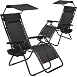 Patio Chairs Lounge Chair Zero Gravity Chair 2 Pack Recliner W/Folding Canopy Shade and Cup Holder for Outdoor Funiture (Black)
