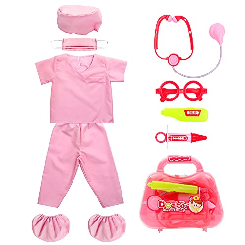 Kid's Scrubs fedio Role Play Costume Dress up Set with Medical Toy Kit for Toddler Children Ages 3-5 (Hot Pink)