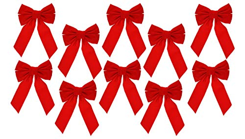 Celebrate A Holiday Red Velvet Christmas Wreath Bow, Set of 10 - Dimensions of 9