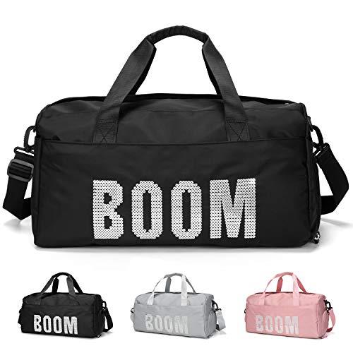 FEDUAN original Boom Sporttasche mit Schuhfach und Nassfach Reisetasche modisch wasserdicht Damen Herren Yoga Strand Freizeit Sauna-Tasche Gym-Tasche Shopping-Bag Weekender Urlaub schwarz pink grau