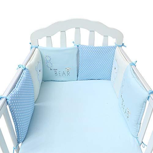 Parure de lit pour bébé literie en coton pour bébé Literie pour bébé Combinaison gratuite 6 pièces Tour de lit brodé taille universelle