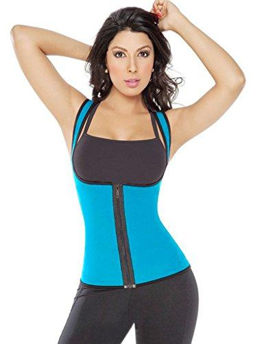Lelinta Rapid Sweat Body Shaper Neoprene Zipper Vest Waist Cincher Exercise Shapewear Blue