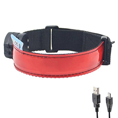 LED brazalete–USB Batería–Glovion LED cinta de correr luz Noche de alta visibilidad equipo de seguridad para correr, correr y ciclismo