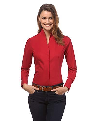 Vincenzo Boretti Damen Bluse mit Kelchkragen leicht tailliert 100% Baumwolle bügelleicht Langarm Hemdbluse mit Stehkragen elegant festlich auch für Business rot 38