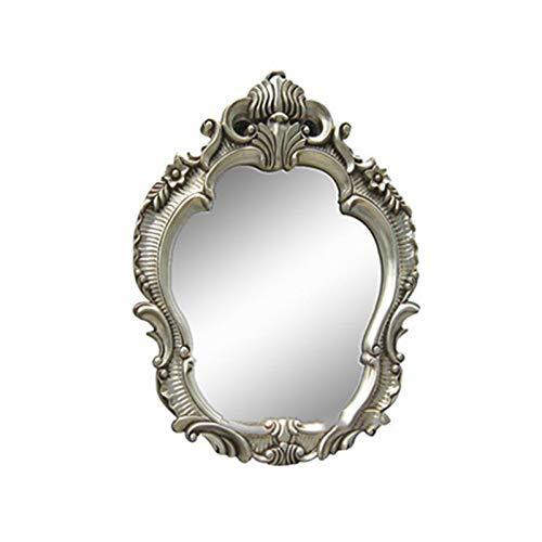 Home - mirror Decoración del hogar Espejos Retro Espejo, Plata Estilo Europeo Baño Espejo Escultura Diseño Patrón Princesa Espejo 90 * 70 Cm Espejos de baño(Size:90 * 70CM)