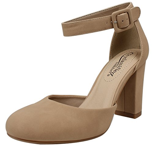 City Classified Womens Closed Toe Heeled Sandal Shoes Kaili-NATNUBNatrual 8.5