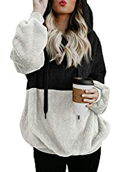 Fuzzy winter hooded sweatshirt for women