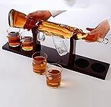 Jarra de whisky Classic M16 Gun Set Large Decanter Set Bullet Gafas, Exquisito Decantador de whisky de rifle de 1000 ml con 4 gafas de whisky de bala y base de madera de mohogany, con conjunto de cuen