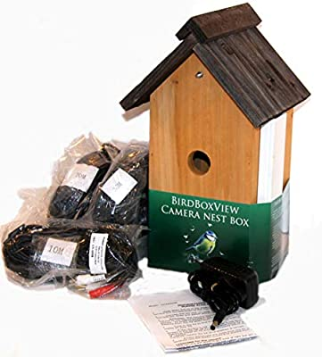 Colour cctv camera in lovely Birdboxview nestbox. Solid wood box has V-shaped roof (recommended by RSPB) Ideal Xmas gift for birdlovers/Springwatch family project! New Item at Sale Price for Xmas! from Birdboxview