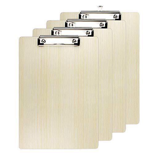 Miovatty 4 Pcs Carpeta Madera A4 con Pinza, Impermeable Carpeta Pinza Madera A4 Clipboards Menu Board A4 con Hanging Hole