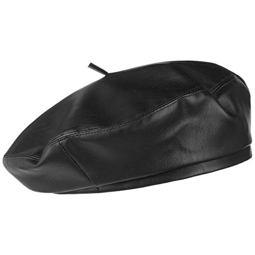 Lipodo Basco in Similpelle Unisex - Basco Foderato - Basco alla Francese Foderato, in Similpelle - Ripiegabile - Berretto Estate/Inverno Nero S/M (55-57 cm)