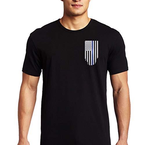 Thin Blue Line American Flag T-Shirt - Vertical Flag - Black (X-Large)