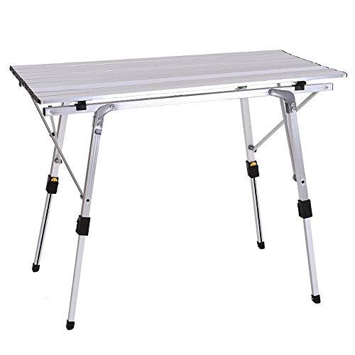 JONJUMP Mesa plegable al aire libre de la silla de camping de aleación de aluminio de la barbacoa de la mesa de picnic impermeable durable plegable mesa escritorio de 90 x 53 cm