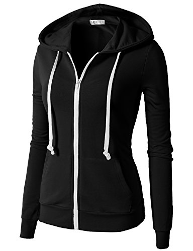 H2H Womens Comfortable Long Sleeve Zipper Kangaroo Pocket Hoodie Jackets Black US M/Asia M (CWOHOL020)