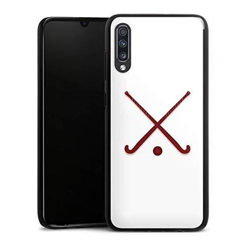 DeinDesign Silikon Hülle kompatibel mit Samsung Galaxy A70 Case schwarz Handyhülle Hockey Hobby Sport