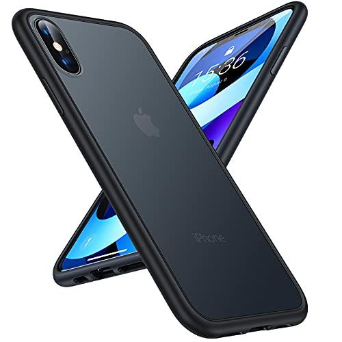 TORRAS 半透明 iPhone Xs 用ケース iPhone X 用ケース 米軍MIL規格取得 マット感 ストラップホール付き SGS認証 黄ばみなし レンズ保護 5.8インチ アイフォン X用 Xs用カバー ブラック