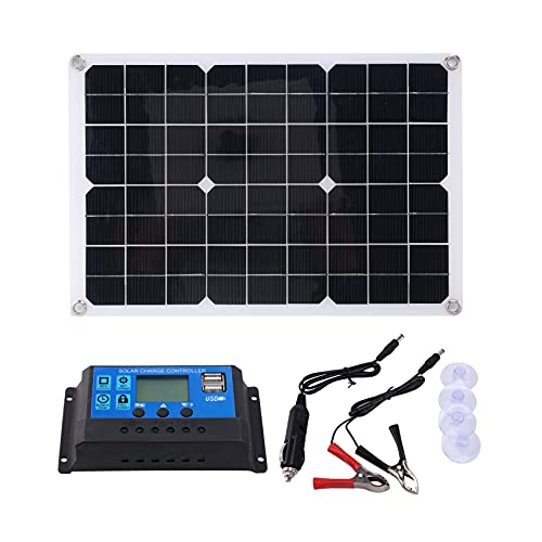 Nephit Panel solar de 15 W, 12 V, cargador de batería, kit de 50 A, controlador para caravana, furgoneta, barco, Dual USB