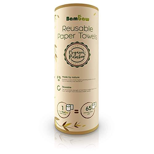 Essuie-tout lavable | Papier Absorbant réutilisable en bambou | Multi-usage | Antibactérien | Résistant, épais et absorbant | 20 feuilles réutilisables | Bambaw