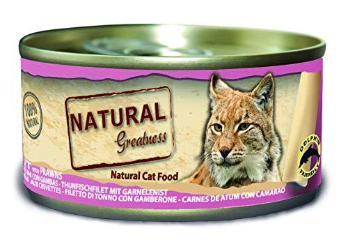 Natural Greatness Greatness Comida Húmeda para Gatos de Filete de Atún y Gambas. Pack de 24 Unidades. 70 gr Cada Lata