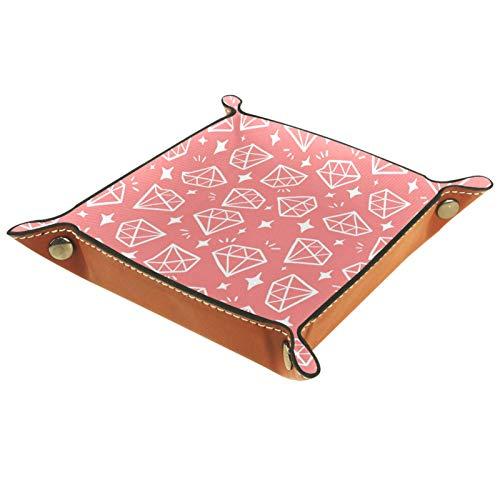 ATOMO Bandeja de almacenamiento de cuero brillante diamante rosa fondo clave joyería moneda catchall Sundries organizador cabecera pequeña bandeja clave teléfono joyería almacenamiento