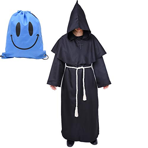 Mönch Robe Kostüm Mönch Priester Gewand Kostüm mit Kapuze Mittelalterliche Kapuze Herren Mönchskutte (Small, Schwarz)