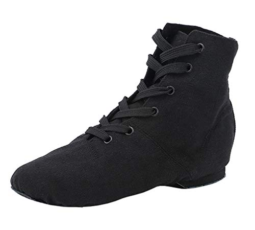 missfiona Womens Canvas Over The Ankle Jazz Dance Boots Lace-up Ballroom Modern Dance Shoes(10, Black)
