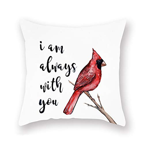 Royalours Throw Pillow Covers Red Cardinal Bird Resting on The Tree Branch with I am Always with You Sweet Quote Decorative Pillow Covers Super Soft Square Pillowcase Cushion Cover 18' x 18' (Bird-4)