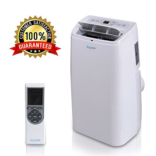 Portable Electric Air Conditioner Unit - 1150W 12000 BTU Power Plug-in AC Indoor Room Conditioning System w/ Cooler, Dehumidifier, Fan, Exhaust Hose, Window Seal, Wheels, Remote - SereneLife SLPAC12