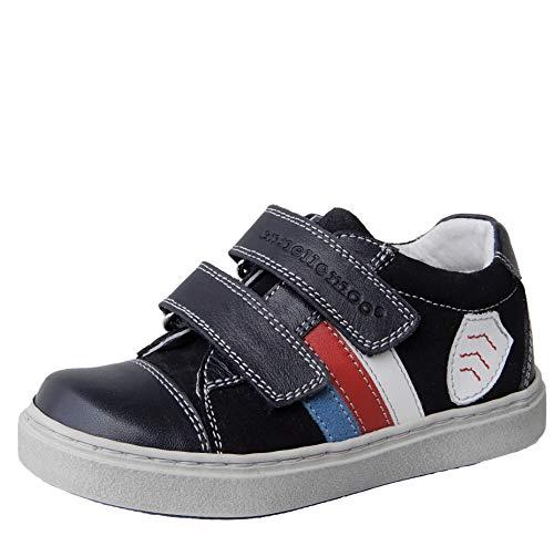 ennellemoo® Jungen-Kinder-Halbschuhe-Sneaker-Slipper- Echt Leder-Schuhe-Klettverschluss. Premiumschuhe - Vollleder.(30 EU, Indigo/Blau)
