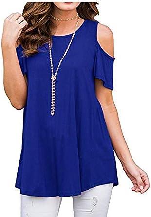 Women Open Shoulder T-Shirt Short Sleeve Tops(/ L)
