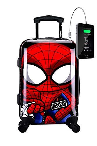 TOKYOTO - Maleta de Cabina Equipaje de Mano Spider Boy con Cargador USB, 8000mAh, 55x40x20 cm | Maleta Juvenil, Trolley de Viaje Ryanair, Easyjet | Maleta de Viaje Rígida
