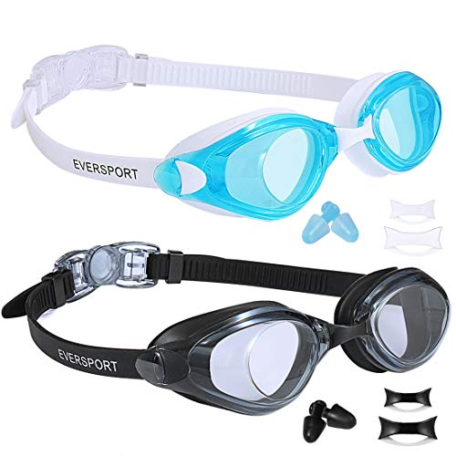 EverSport Swim Goggles, Pack of 2, Swimming Glasses for Adult Men Women Youth Teenager, Anti-Fog, UV Protection, Shatter-Proof, Watertight (Black&LightBlue)