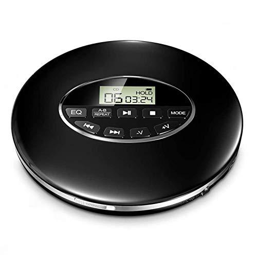 GJG Reproductor De CD Portátil, Compacto Reproductor De Música Walkman Small Anti-Skip, para Audiolibros Escuchar Música Y Hablar, para Niños Y Adultos,Black + Bluetooth