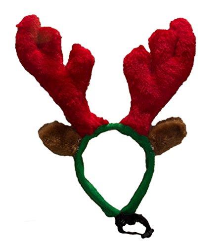 Ciffre Hund Elchgeweih Rentier Haarreif Hunde Katze Weihnachtsmütze Nikolausmütze Rot