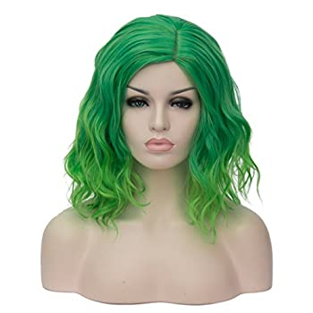 Mildiso Green Wigs for Women 14   Short Curly Wavy Green Hair Wig Cute Fashion Wig Perfect for Joker Cosplay Party Halloween M004G
