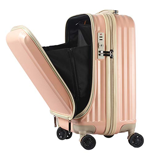 フロントオープン スーツケース 機内持ち込み キャリーバック キャリーケース SSサイズ 軽量 TSAロック 115cm ファスナータイプ BASILO-108 前ポケット (フルーツピンク×アイボリー)