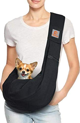 TOMKAS Small Dog Cat Carrier Sling Hands Free Pet Puppy Outdoor Travel Bag Tote Reversible (Brown) 1
