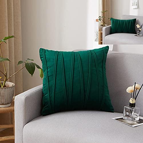 Fundas de Almohada de Terciopelo a Rayas Funda de cojín de Color sólido Decorar sofá Fiesta en casa Funda de Almohada Cuadrada Suave 40x60 / 45x45 Tamaño: Verde Oscuro, 40x60cm 1pc